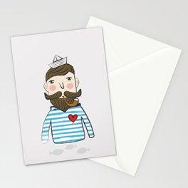 Lovely Bearded Sailor Man Illustration Stationery Cards