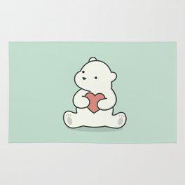Kawaii Cute Polar Bear With Heart Rug
