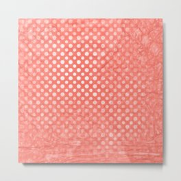 Polka dots and texture in peach echo Metal Print