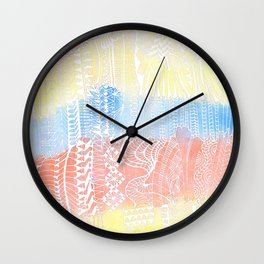Buildings in white doodle over watercolor Wall Clock
