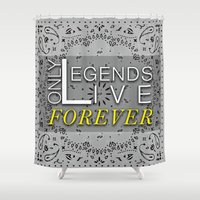 tupac Shower Curtains featuring LEGEND by irokart