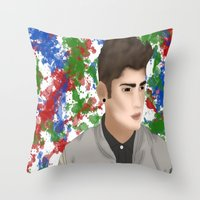1d Throw Pillows featuring Zayn 1D by Maranda Rae