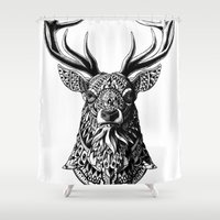ornate elephant Shower Curtains featuring Ornate Buck by BIOWORKZ