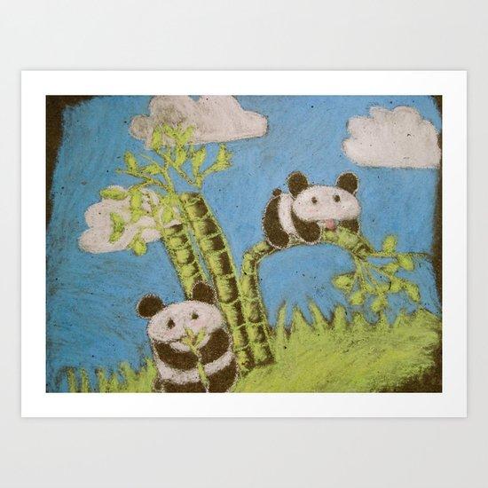 Cute Pandas Art Print