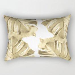 Gold Monstera Leaves on White Rectangular Pillow