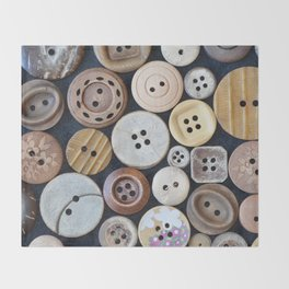 Wooden Buttons Throw Blanket