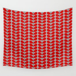 Mid Century Danish Leaves, Deep Red & Gray / Grey Wall Tapestry