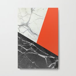 Black and white marble with pantone flame color Metal Print