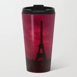 Dramatic Red Sky Eiffel Tower Paris France Travel Mug