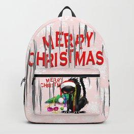 Evil Black Cat VS Christmas Tree Backpack