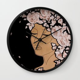 Woman and Rose Garden Wall Clock