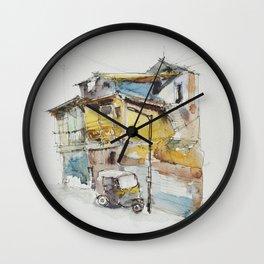 Rickshaw at the lamppost  Wall Clock
