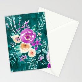 LAVISH FLORAL - EMERALD Stationery Cards