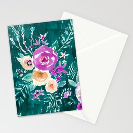 LAVISH FLORAL - EMERALD Stationery Cards