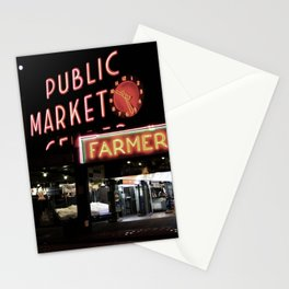 Pike Place Farmers Market - at night Stationery Cards