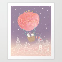 Flower Hot Air Balloon Art Print