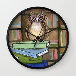 Owl the Librarian Wall Clock