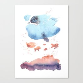 Cloud fish the Boogie Man - Fantasy Worlds - Watercolor Canvas Print