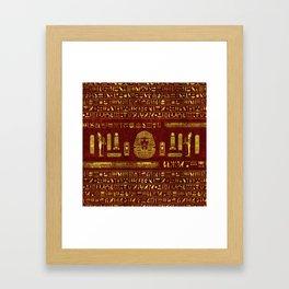 Golden Egyptian Sphinx on red leather Framed Art Print