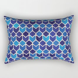 Watercolor blue cubes watercolor hand painted illustration pattern Rectangular Pillow