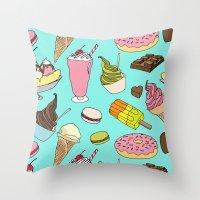 dessert Throw Pillows featuring Dessert Explosion! by TinyBee