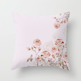FRENCH PALE ROSES Throw Pillow