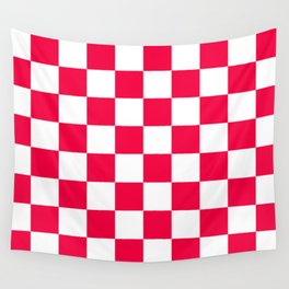 Cheerful Red Checkerboard Pattern Wall Tapestry