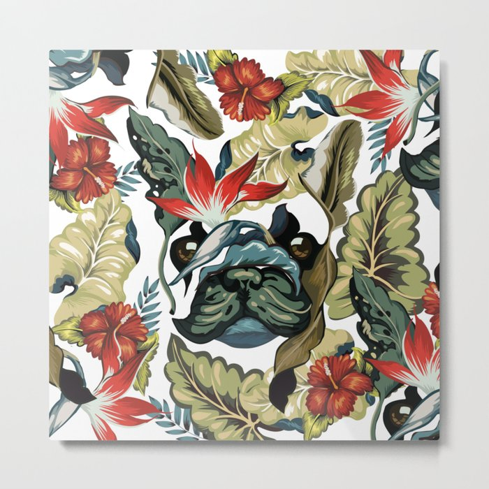 Tropical Frenchie Metal Print