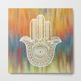 Colorful White Golden Hamsa Hand Metal Print