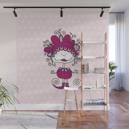 Doodle Doll with Curls on Pink Background Wall Mural