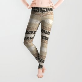 Mosaic Wavy Stripes in Beige and Browns Leggings