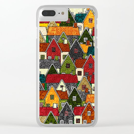 Small Mosaic Village Clear iPhone Case