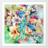 parrot Art Prints featuring PARROT by RIZA PEKER