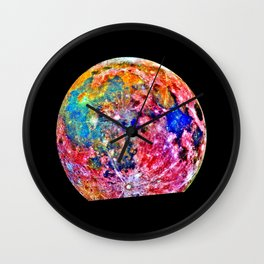 Colorful Moon Surface Wall Clock