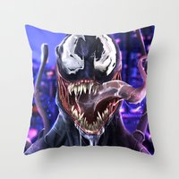 venom Throw Pillows featuring VENOM by corverez