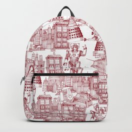 Doctor Who Toile de Jouy | 'Walking Doodle' | Red Backpack