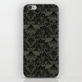 Stegosaurus Lace - Black / Grey - iPhone Skin