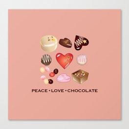Peace Love Chocolate Canvas Print