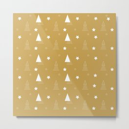 Christmas gold white minimal tree elegant Metal Print
