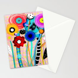 Yellow Polka Dots Floral Bouquet Stationery Cards