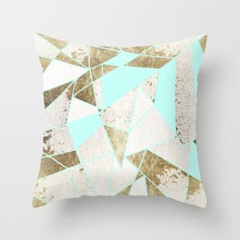 Modern Rustic Mint White and Faux Gold Geometric Throw Pillow