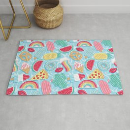 Epic pool floats top view // blue background Rug