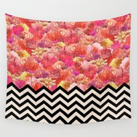 yetiland Wall Tapestries featuring Chevron Flora by Bianca Green