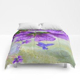 Purple Cranesbill Comforters