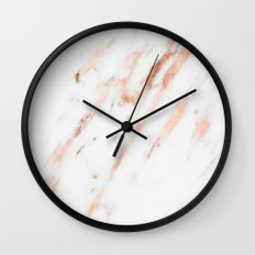 Pink Quartz Marble Rose Gold White Wall Clock