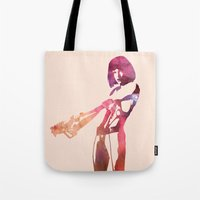fifth element Tote Bags featuring Leeloo - the Fifth Element by pennyprintables