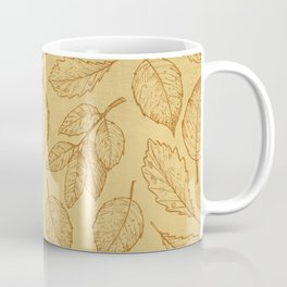Autumn Leaves Ocre Pattern Coffee Mug