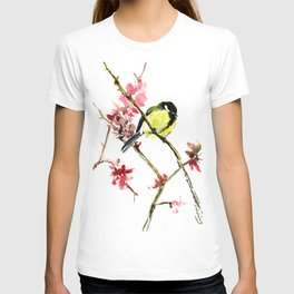 Great Tit and Spring Blossom T-shirt