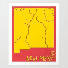 New Mexico State Map Art Print