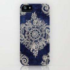 Cream Floral Moroccan Pattern on Deep Indigo Ink iPhone SE Slim Case